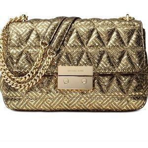 Micheal Kors gold leather shoulder purse: sloan